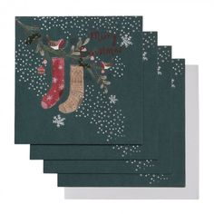 Stockings on branch Christmas cards - pack of 6