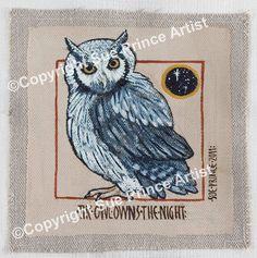 The Owl Owns the Night Sue Prince Artist egg tempera, Swedish style folk art.