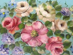 Close-up detail of antique painted roses by a French tole artist.