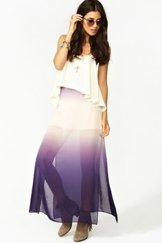Nasty Gal has some odd stuff, but also some pretty good statement pieces! I really like this purple ombre maxi skirt.