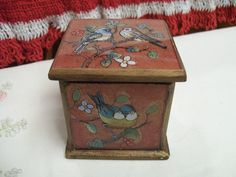 Vintage, Birds, Trinket Box, Reverse Painted, Small Wooden Box, Hand Made, Peru, Robert M. Weiss, Small Jewelry, Decorative, Hinged Box by FabVintageEstates on Etsy