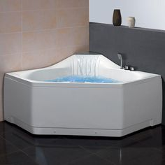 The Ariel 5 ft. Whirlpool Tub fits two people. Sit back and rejuvenate with the relaxing effects of the unique waterfall tub filler paired with 22 whirlpool jets, FM radio and chromatherapy lighting for an outstanding bathing experience.