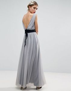 ASOS WEDDING Mesh Maxi Dress With Navy Ribbon Strapping Detail