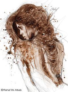 Brown ink by Rahaf Dk Albab, via Behance