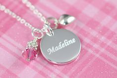 Engraved Girl Name Necklace, Personalized Girl Birthday Gift Idea, 925 Sterling Silver #Jewelry #JewelryForGirls