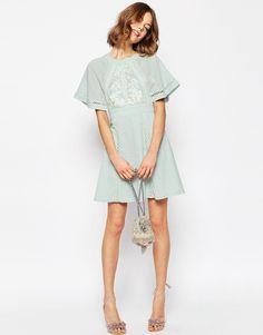 Image 4 ofASOS Embroidered & Lace Insert Skater Dress