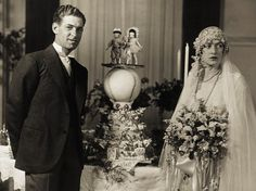 Vintage Weddings - Hall of Fame Manager Bucky Harris should have run his plan for the wedding cake past his bride, Elisabeth Sullivan, some time befor. 1920s Wedding Cake, Vintage Wedding Photos, Vintage Bridal, Wedding Pics, Wedding Bride, Wedding Styles, Wedding Gowns, Vintage Weddings, 1920s Cake