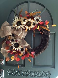 Fall grapevine floral wreath with burlap by SimplySunshineDecor