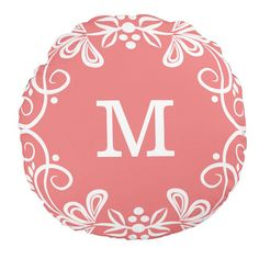 Coral and White Custom Monogram Decorative Swirls Round Throw Pillow http://www.zazzle.com/coral_white_custom_monogram_decorative_round_pillow-256153006532350541?rf=238835258815790439&tc=OSGRoundPillowsPin