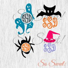Halloween Monogram Frames SVG / DXF Cut File for Silhouette Spider Ghosts Bat Witch Hat Monogram Frame Cute Kids 009