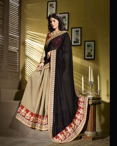Beige and black half and half sari   1. Beige and black ploy georgette half and half sari2. Comes with matching unstitched blouse