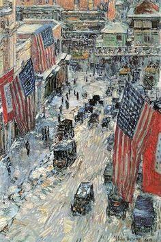 Elegant Flags On Fifth Avenue, Winter 1918