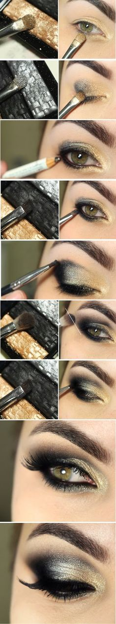 here you will find different gold smokey eye makeup tutorials to get the perfect dramatic smokey eyes. Try it and shine out with the gold smokey eye makeup! Make Up Tutorial Contouring, Smokey Eye Makeup Tutorial, Eye Tutorial, Eyeliner Tutorial, Gold Smokey Eye, Smoky Eye, Smokey Eyeliner, Tips Belleza, Eye Make Up