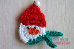 Аппликация снеговик крючком