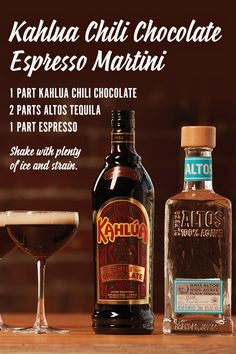 Wow your guests with new Kahlua Chili Chocolate Espresso Martinis this holiday season. It's a sophisticated yet approachable coffee cocktail mix that will keep the holiday festivities going. You'll need an espresso machine and shaker for this one. Shake 1 part Kahlua Chili Chocolate, 2 parts Altos Tequila, and 1 part espresso with plenty of ice, then strain into a small cocktail glass to get rid of the small ice chips. Shake for 10 seconds for optimal frothiness.