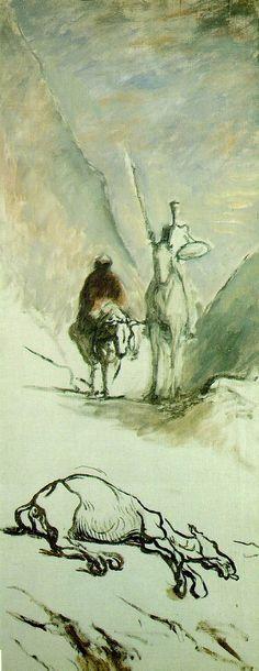 """""""Don Quixote and the Dead Mule """"Honoré Daumier – 1867"""