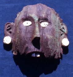 Wooden Mask with Marine Shell - the mask was once apparently covered with sheet copper - Craig Mound, Spiro Mound Site - Eastern Oklahoma