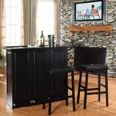 """Found it at Wayfair - Mobile Folding Bar in Black with 29"""" Upholstered Saddle Stool in Black"""