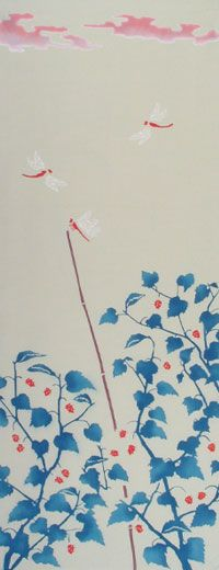 DRAGONFLY AND MULBERRY (September) / Flower / Animal & Flower | Japanese Gifts TENUGUI online shop - wuhaonyc