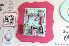 How-To Turn Frames into Organizers. A little paint, pegboard, and chicken wire is all it takes to transform frames into wall storage. | bydawnnicole.com