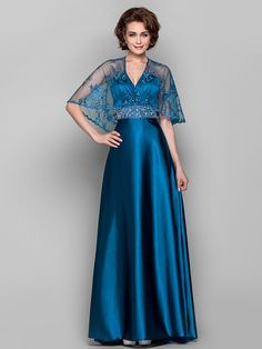 Dress - Ink Blue Sheath/Column V-neck Sweep/Brush Train Lace/Stretch Satin - USD $119.99