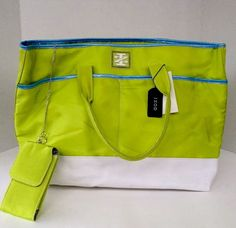 NEW Women's IZOD Tote Bag (Lime/Light Blue/White) X LARGE | Clothing, Shoes & Accessories, Women's Handbags & Bags, Handbags & Purses | eBay!