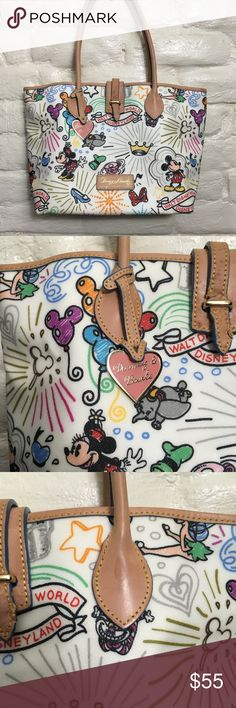 """Dooney & Bourke Walt Disney World Sketch Tote Bag Height: 10.5"""" Material: Leather Pattern: Multi-Colored Brand: Dooney & Bourke Theme: Disney Bag Depth: 5.5"""" Closure: Zip Color: Sketch Print Size: Large Style: Totes & Shoppers Bag  Length:12"""" Please see pics for small wear and tear! Monsoon Bags Shoulder Bags"""
