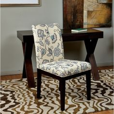 Parsons Paisley/ Scroll Floral Upholstered Armless Chair - 16193878 - Overstock - Great Deals on Office Star Products Dining Chairs - Mobile
