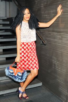Solange Knowles in Fendi. [Photo By Billy Farrell/BFAnyc.com]