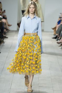 Michael Kors Spring/Summer 2015 Ready to Wear. Yellow floral skirt with classic blue button down.