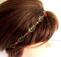 Headband, collier, bohème chic bronze et orange, couronne de feuilles : Accessoires coiffure par color-life-bijoux