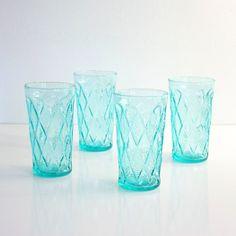 Mid Century Modern Aquamarine Gemstone Kimberly Glasses by Anchor Hocking
