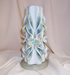 Pink yellow blue carved candle#carved candle