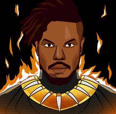 Black Panther - Erik Killmonger, T'Challa Comic Book Characters, Comic Books, Fictional Characters, Golden Jaguar, Erik Killmonger, Best Superhero, Black Panther, Marvel Universe, Favorite Tv Shows