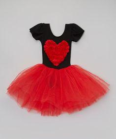 Look at this #zulilyfind! Black & Red Rosette Heart Tutu Dress - Infant, Toddler & Girls #zulilyfinds