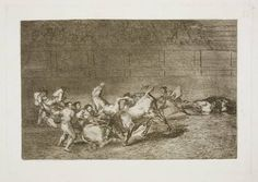 Goya en El Prado: Dos grupos de picadores arrollados de seguida por un solo toro