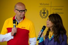 Alberto Nobis (AD DHL Express Italy) e Susanna Messaggio #yellowparade #gogreen http://www.dhllive.com/content/il-sogno-green-di-dhl