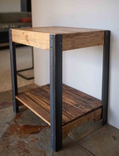 Pallet Wood Side Table with Metal Legs and Lower Shelf - Hand made side table created out of repurposed pallet wood and metal legs. The wood is sanded light - Wooden Pallet Furniture, Wooden Pallets, Metal Furniture, Furniture Design, Pallet Wood, Furniture Ideas, Repurposed Furniture, Furniture Repair, Geek Furniture