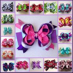 6 stacked bow package you choose color, theme, made to match by LillyBeanBowtique on Etsy https://www.etsy.com/listing/233551420/6-stacked-bow-package-you-choose-color