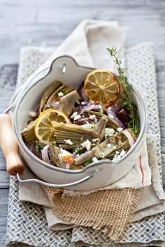 Braised Artichokes With Olives & Feta