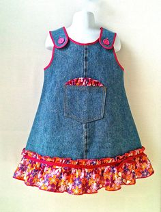 Toddlers Dress Back to School Dress  Denim Dress  by 8thDayStudio, $25.00