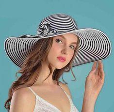 Summer striped flower straw sun hat for women wide brim straw hats