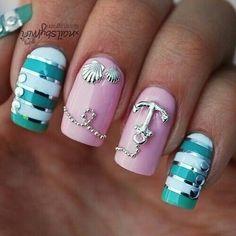 Anchor beach nautical inspired nails cute design
