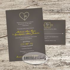 Perfect Together Printable Wedding Invitation by beetleandquill, $50.00