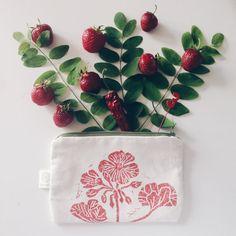 "Block printed pouch ""Pelargonium"", lino block printed cotton purse"