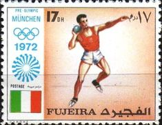 Stamp: Shot Putting (Fujairah) (Summer Olympics Munich) Mi:FU Shot Put, Summer Olympics, Munich, Postage Stamps, Baseball Cards, Sports, Hs Sports, Sport, Stamps