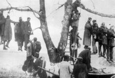 Soviet POWs hanged on a tree in Kharkov by German soldiers