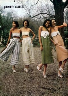 This is advertisement from 1975. This advert is very natural looking and stripped back, depicting the models enjoying themselves, suggesting that owning these garments would help you achieve the happiness they are experiencing. The natural setting gives the advert a very bohemian feel and relaxed and open atmosphere, featuring a pastel, light colour palette. This gives the advert an air of innocence, and i assume that this advert is ...