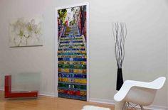 Rio de Janeiro Stairway Door Mural Vinyl Doors, Custom Wall Murals, Door Murals, Stairways, Wall Decor, Storage, Room, Furniture, Design