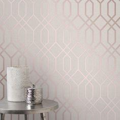 Quartz Trellis Geometric Wallpaper Beige and Rose Gold Feature Wall Fine Decor FD42306 #livingroom #living #room #wallpaper